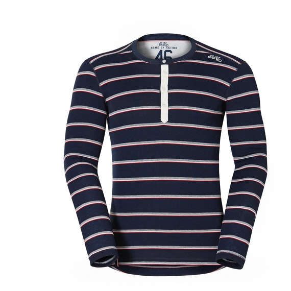 Shirt l/s crew neck Vallée Blanche WARM, navy new stripes, large