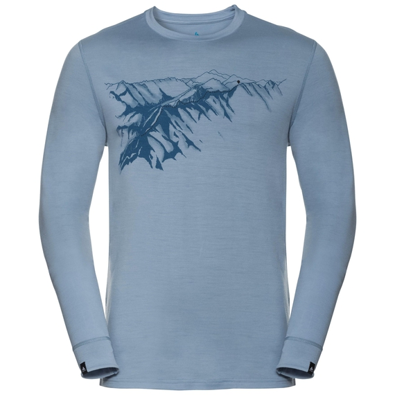 Men's ALLIANCE KINSHIP Long-Sleeve Top, faded denim - mountain print SS19, large