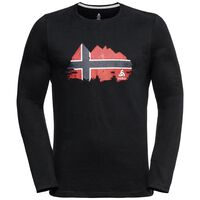 Shirt l/s crew neck CITY PROGRAM, black -  NORWEGIAN flag, large