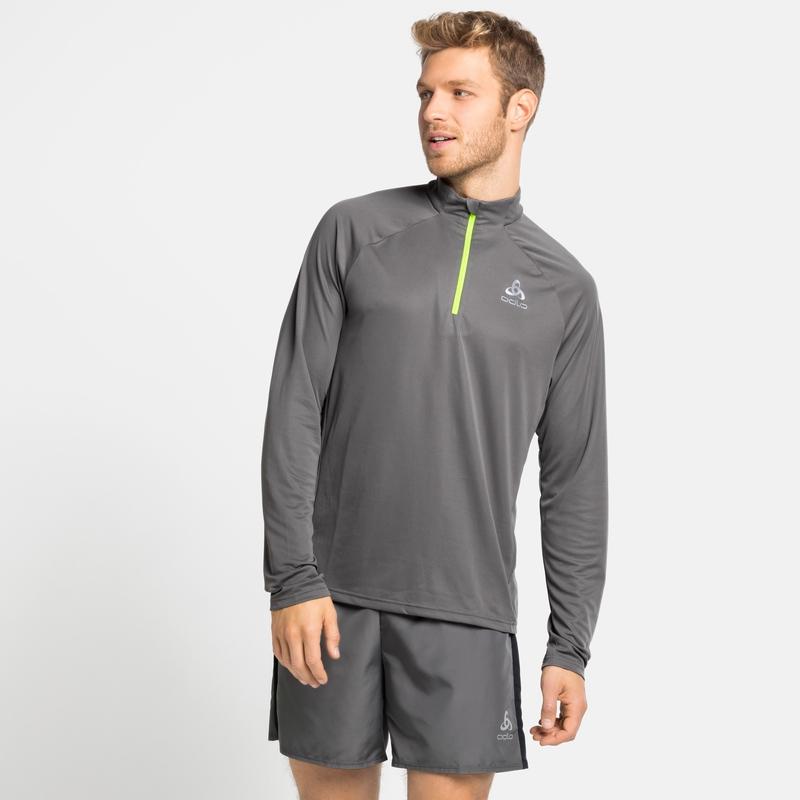 Men's ESSENTIAL Half-Zip Running Mid Layer, odlo steel grey, large
