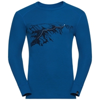 Men's ACTIVE WARM PRINT Long Sleeve Base Layer Top, energy blue, large