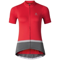 FUJIN cycling jersey women, bittersweet - odlo steel grey, large