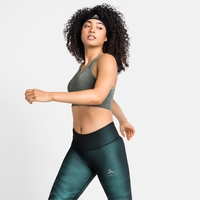 Women's SEAMLESS MEDIUM CERAMICOOL Sports Bra, matte green melange, large