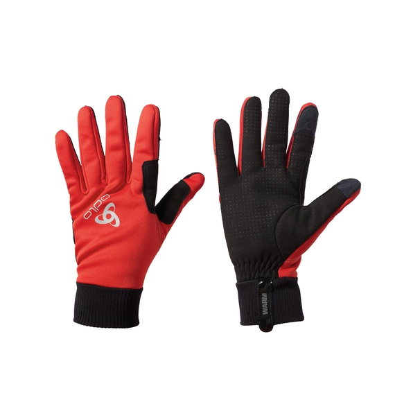 Gloves WINDPROOF Warm, fiery red - black, large
