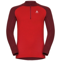 Naadloze onderkleding top met Col en 1/2 rits l/m active Revelstoke Warm, syrah - fiery red, large