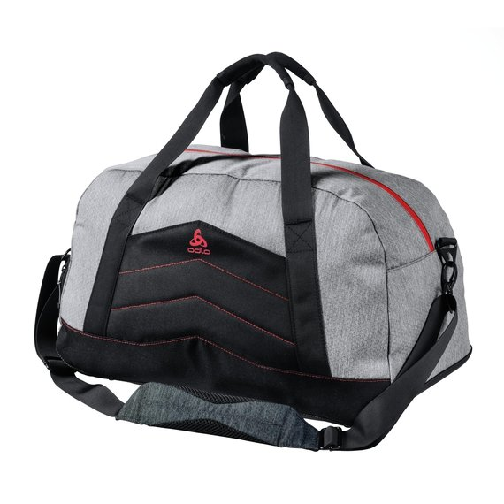 Bag TRAINING, grey melange - chinese red, large