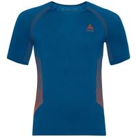 Shirt s/s crew neck ESSENTIALS seamless WARM, mykonos blue - orangeade, large