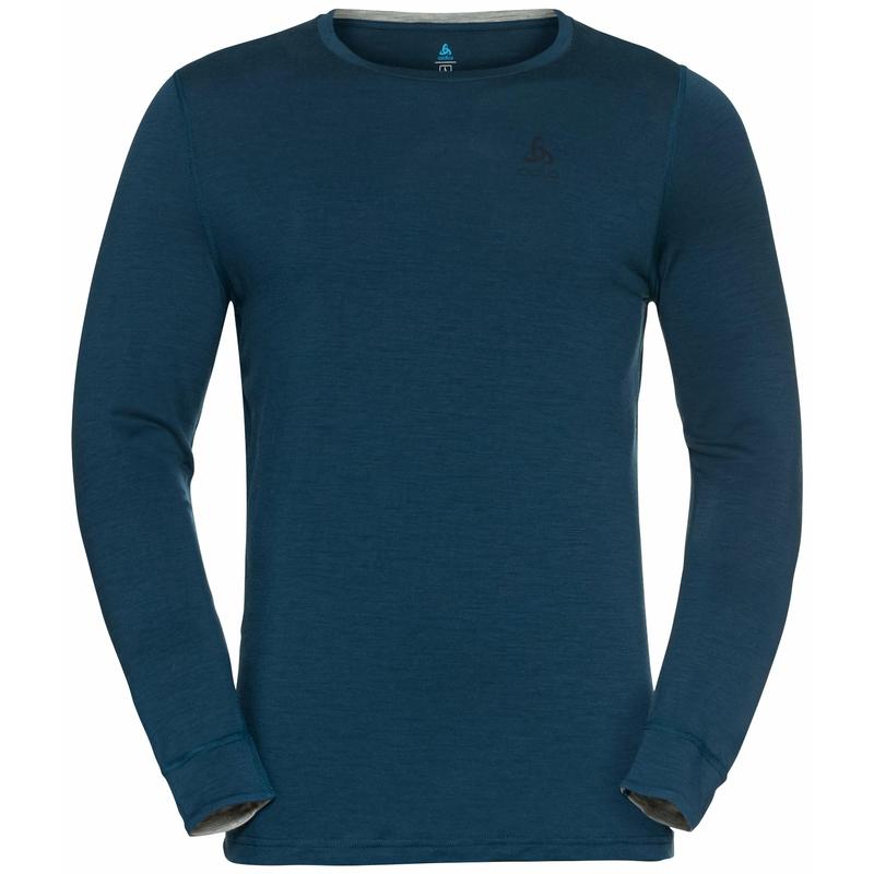 Men's NATURAL 100% MERINO WARM Long-Sleeve Base Layer Top, deep dive, large