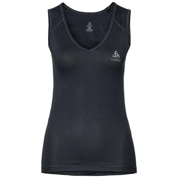 SUW TOP V-neck Singlet ACTIVE Cubic LIGHT, ebony grey - black, large
