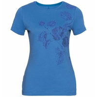 Women's KUMANO PRINT T-Shirt, marina - flower leaf print SS20, large
