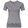 ALLIANCE-T-shirt voor dames, grey melange - leaves on waist print SS19, large