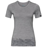 Damen ALLIANCE T-Shirt, grey melange - leaves on waist print SS19, large