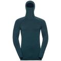 Sous-vêtement technique T-shirt manches longues à cagoule NATURAL + KINSHIP WARM pour homme, blue coral melange, large