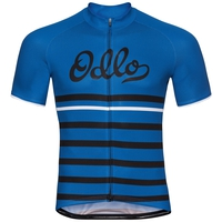 Men's FUJIN PRINT Short-Sleeve Cycling Jersey, energy blue - black - retro, large