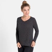 Damen LOU LINENCOOL Langarm-Shirt, black melange, large