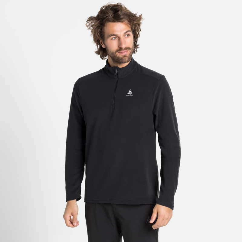 Men's BERNINA 1/2 Zip Mid Layer, black, large