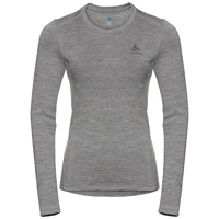 Women's NATURAL 100% MERINO WARM Long-Sleeve Base Layer Top, grey melange - grey melange, large