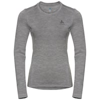 Women's NATURAL 100% MERINO WARM Long-Sleeve Baselayer Top, grey melange - grey melange, large