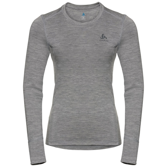 Damen NATURAL 100% MERINO WARM Sportunterwäsche Langarm-Shirt, grey melange - grey melange, large