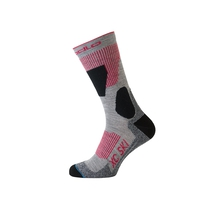 Socks long XC SKI, grey melange - hibiscus, large