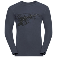 Men's ACTIVE WARM PRINT Long Sleeve Base Layer Top, india ink, large