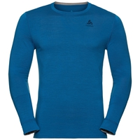 Men's NATURAL 100% MERINO WARM Long-Sleeve Base Layer Top, mykonos blue - grey melange, large