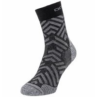 UNISEX CERAMICOOL HIKE GRAPHIC Micro Crew Socks, black - odlo steel grey, large