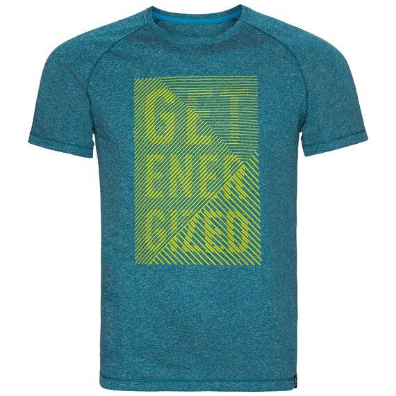 T-shirt s/s AION, deep lagoon melange - placed print SS18, large