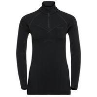 EVOLUTION WARM baselayer shirt half-zip, black - odlo graphite grey, large