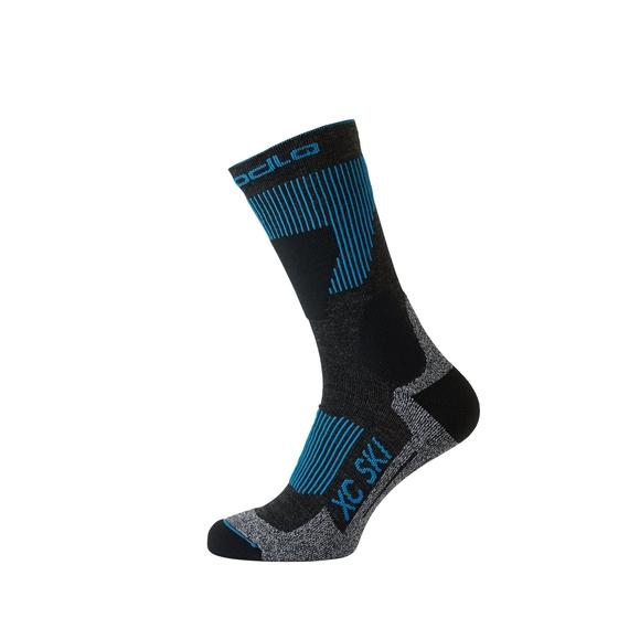 52e610db93202 Socks long XC SKI, odlo graphite grey - blue jewel, large