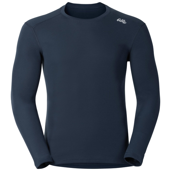 Shirt l/s crew neck Vallée Blanche WARM, navy new, large