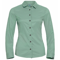 Women's KUMANO CHECK Blouse, creme de menthe - odlo concrete grey - check, large