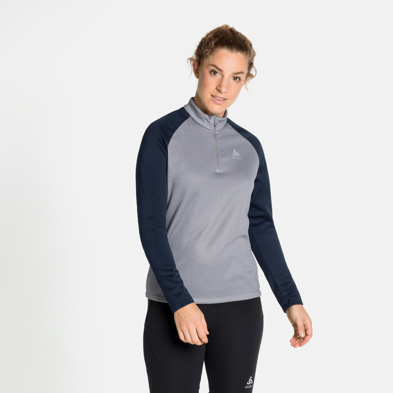 Women's PLANCHES 1/2 Zip Mid Layer, diving navy - grey melange, large