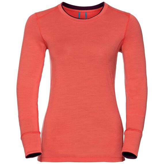 Natural 100 Merino Warm baselayer shirt women, hot coral - pickled beet, large