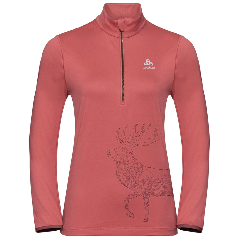 Women's TRAFOI 1/2 Zip Mid Layer, faded rose - placed print FW19, large