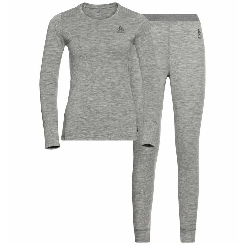 Women's NATURAL 100% MERINO WARM Base Layer Set, grey melange - grey melange, large