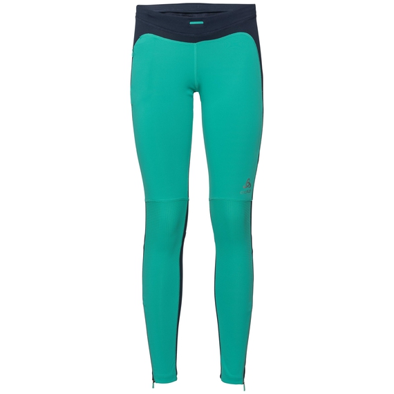 HIKE Tights women, pool green - diving navy, large