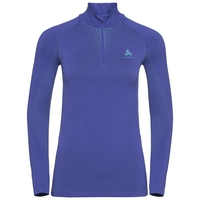 Women's PERFORMANCE WARM 1/2 Zip Turtle-Neck Long-Sleeve Baselayer Top, clematis blue - niagara, large