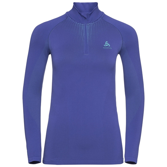 Maglia Base Layer a collo alto con 1/2 zip a manica lunga PERFORMANCE WARM da donna, clematis blue - niagara, large