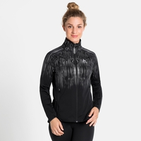 Women's ZEROWEIGHT PRO WARM REFLECT Running Jacket, black - reflective graphic FW20, large