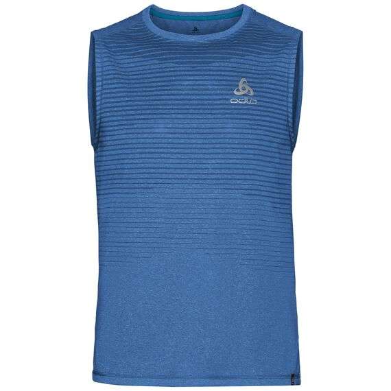 BL TOP Crew neck Tank AION, energy blue melange - placed print SS18, large