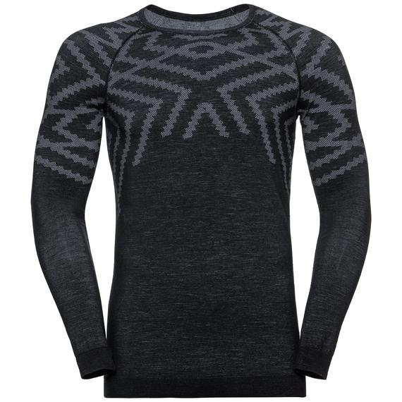 Sous-vêtement technique T-shirt manches longues NATURAL + KINSHIP WARM pour homme, black melange, large