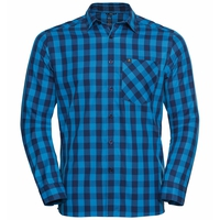 Men's MYTHEN Long-Sleeve Shirt, blue aster - estate blue - check, large