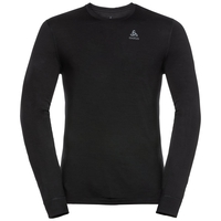 Men's NATURAL 100% MERINO WARM Long-Sleeve Base Layer Top, black - black, large