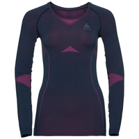PERFORMANCE EVOLUTION WARM-basislaagtop met lange mouwen voor dames, peacoat - pink glo, large