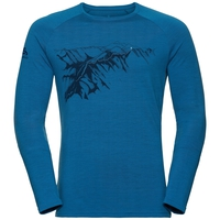 Men's ALLIANCE Long-Sleeve Top, mykonos blue - mountain print FW19, large