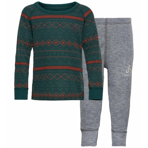 Set ACTIVE WARM X-MAS KIDS, atlantic deep - grey melange, large