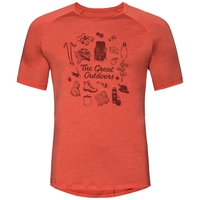 CONCORD Baselayer T-Shirt, paprika - great outdoors print SS19, large