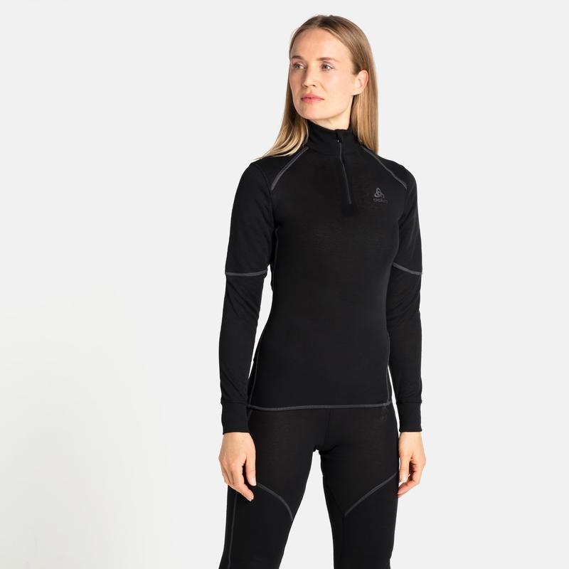 Women's ACTIVE X-WARM ECO Half-Zip Turtleneck Base Layer Top, black, large