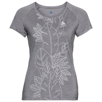 CONCORD Baselayer T-Shirt, grey melange - flower leaf print SS19, large